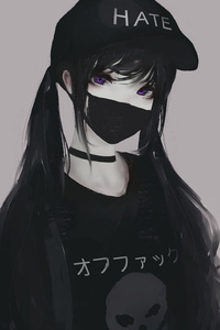 1242x2688 Anime Girl Face Mask Purple Eyes Twintails Hate 5k