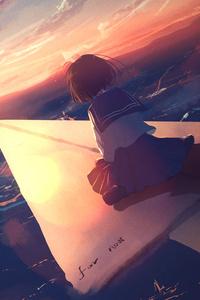 640x960 Anime Girl Flying Paper Plane 4k