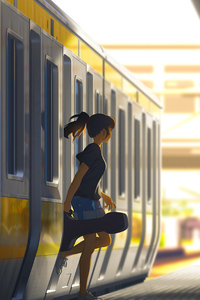 800x1280 Anime Girl Getting Out Of Train 4k