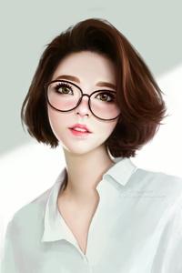 Anime Girl Green Eyes Glasses 4k