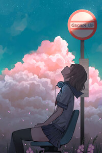 750x1334 Anime Girl Headphones Headup Bus Stop