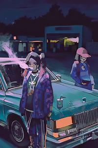 1242x2688 Anime Girl In Parking Lot 4k