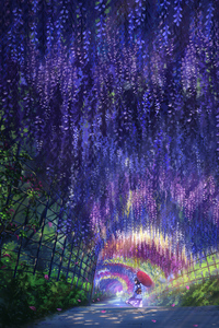 Anime Girl In Wisteria Park With Umbrella