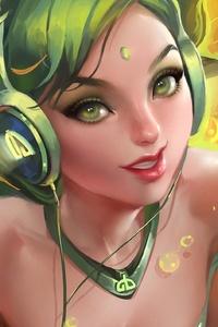 1080x1920 Anime Girl Listening Music