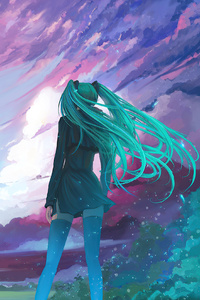 320x568 Anime Girl Long Hair Cold Winds 4k
