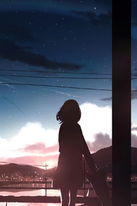 750x1334 Anime Girl Moescape Alone Standing 4k