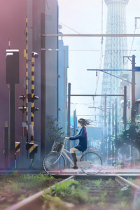 Anime Girl On Bicycle 4k