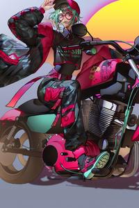 Anime Girl On Bike Art 4k