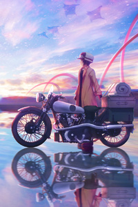 750x1334 Anime Girl On Bike Ice