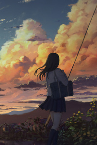 750x1334 Anime Girl Outside Power Lines Clouds 4k