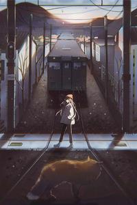 320x568 Anime Girl Passing Railway Track 4k