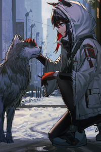 1280x2120 Anime Girl Petting Dog