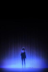 320x568 Anime Girl Phone Blue Lights