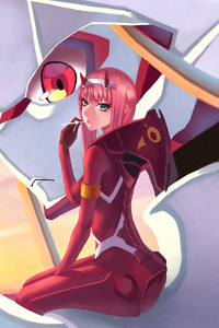 Anime Girl Pink Hair Zero Two Darling In The FranXX