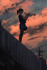 640x960 Anime Girl Playing Trombone