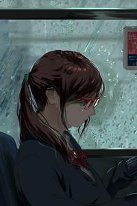 1440x2560 Anime Girl Public Transport Original 5k