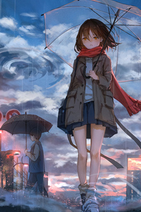 Anime Girl Rain Umbrella Wind 5k