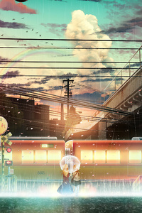 2160x3840 Anime Girl Raining Train Lines