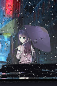 320x480 Anime Girl Rainy Day View From Car 4k