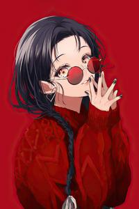 Anime Girl Red Glasses 4k