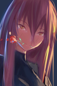 Anime Girl Rose In Mouth