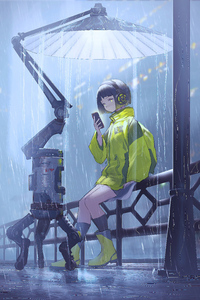 1440x2960 Anime Girl Scifi Umbrella Rain 4k