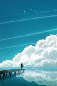 Anime Girl Sea Sky Clouds Landscape Art 4k
