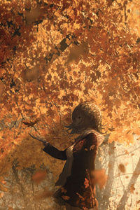 Anime Girl Short Hair Autumn Depth Of Field