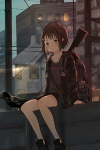 750x1334 Anime Girl Sitting Alone Roof Sad 4k