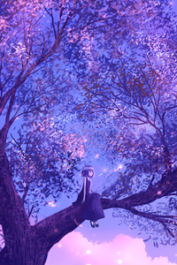 320x568 Anime Girl Sitting On Purple Big Tree 4k