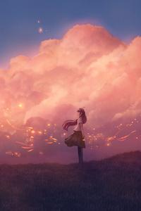Anime Girl Sky Clouds