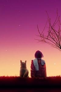 Anime Girl Sunset