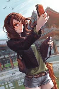 720x1280 Anime Girl Taking Selfie