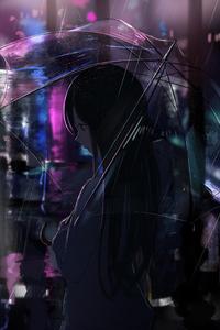 1125x2436 Anime Girl Transparent Umbrella Rain 4k