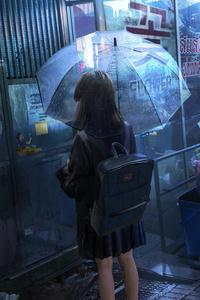1125x2436 Anime Girl Umbrella Rainy Day 5k