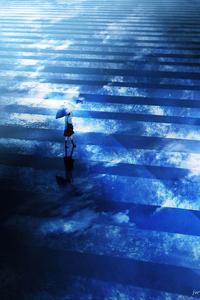1125x2436 Anime Girl Umbrella Walking 5k