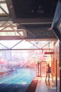 Anime Girl Waiting For Bus