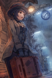 1080x1920 Anime Girl Waiting For Train