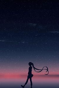640x1136 Anime Girl Walking Horizon 4k