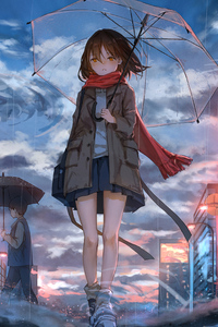 640x960 Anime Girl Walking In Rain With Umbrella 4k