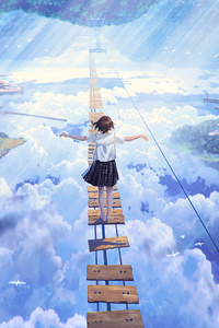 320x568 Anime Girl Walking On Dream Bridge 4k