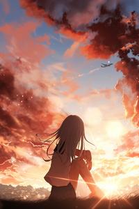 640x1136 Anime Girl Watching Sunset 4k