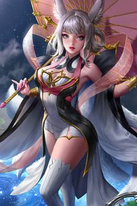 320x568 Anime Girl Water Lilies Moon 4k