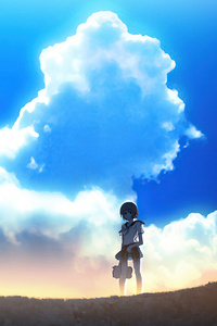 1080x1920 Anime Girl Windmill Landscape 4k
