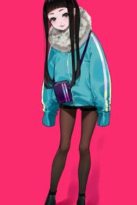 Anime Girl Winter Minimal 4k