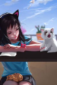 Anime Girl With Cat Pulling Back Her Headphones