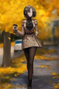 1080x1920 Anime Girl With Coffee Mug 5k