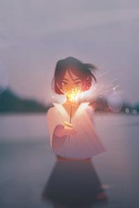 750x1334 Anime Girl With Firework