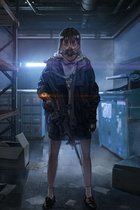 Anime Girl With Mask And Gun 4k