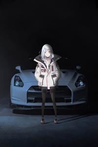 1280x2120 Anime Girl With Nissan Gtr 35